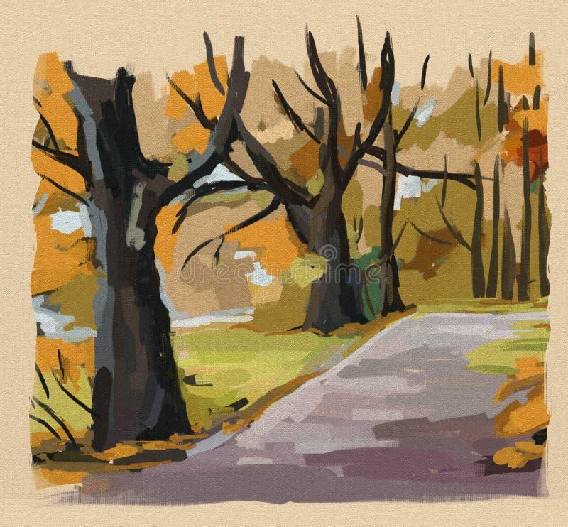 Autumn park vector illustration