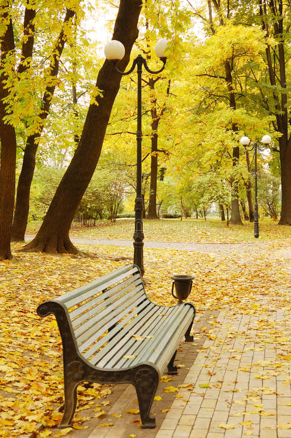 Download Autumn park stock photo. Image of walkway, background - 5876586