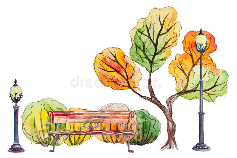 Autumn park with bench lantern and trees. Watercolor hand drawn autumn background with park, outdoor elements, orange, yellow, green tree, bench, shrubs and vector illustration