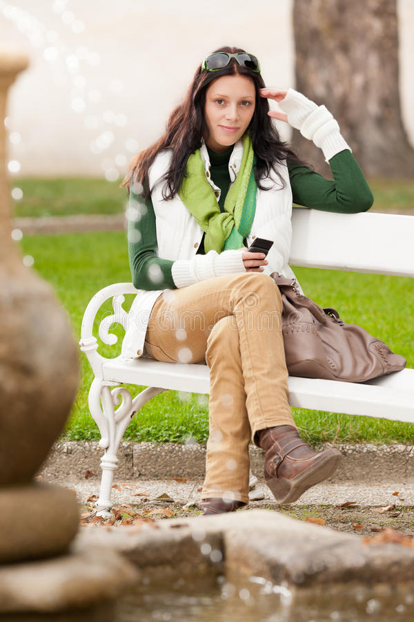 Autumn Park Bench Young Woman Hold Phone Royalty Free Stock Photo