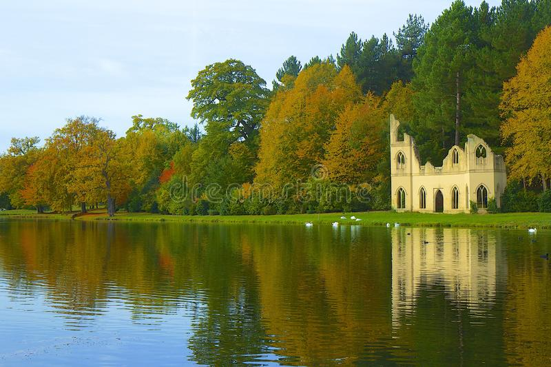 Autumn park in England. Painshill park in Cobham, London, Autumn view stock photo