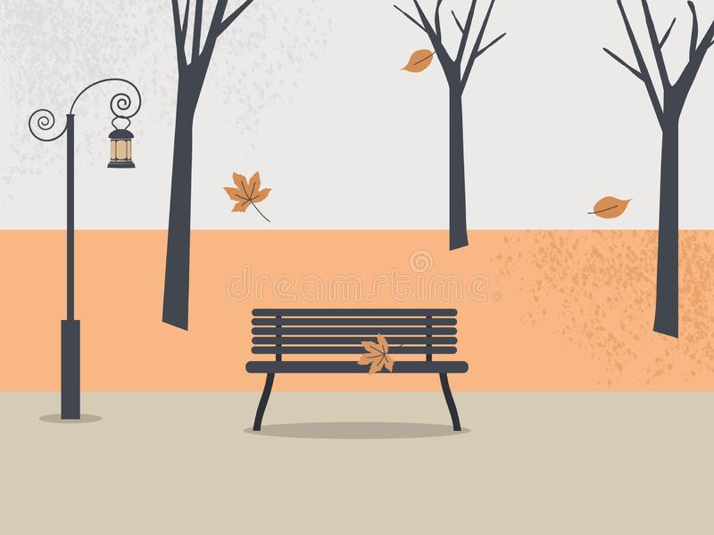 Autumn park.Fall  soothing landscape: trees, leaves, sky, empty bench with lonely leaf, antique lantern. Colorful vector. Illustration in flat style vector illustration