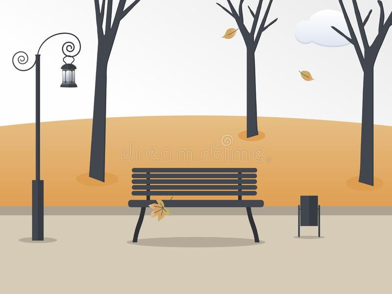Autumn park.Fall  soothing landscape: trees, leaves, sky, empty bench with lonely leaf, antique lantern,litter bin. Colorful. Vector illustration in flat style royalty free illustration