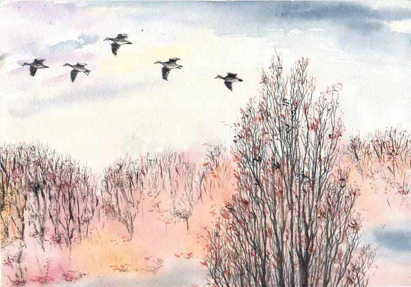 Autumn. Park. Flying birds stock illustration