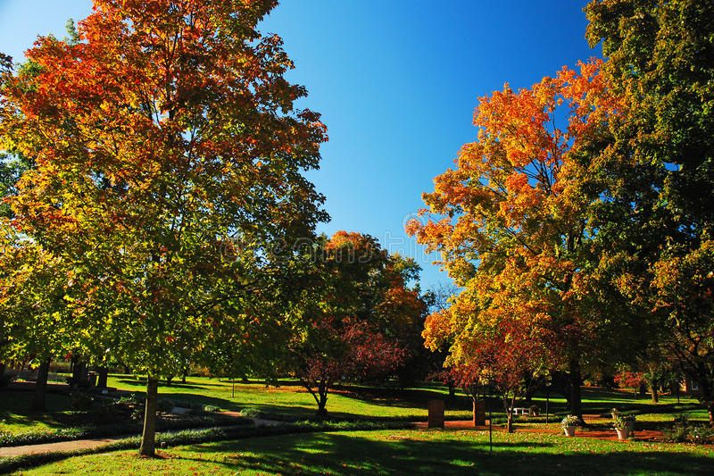 Autumn. A park in Kentucky shows the brilliant autumn colors stock photography