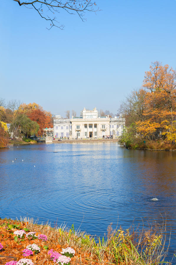 Autumn park Lazienki, Warsaw. Autumn park with Palace Over Water, Lazienki, Warsaw, Poland royalty free stock image