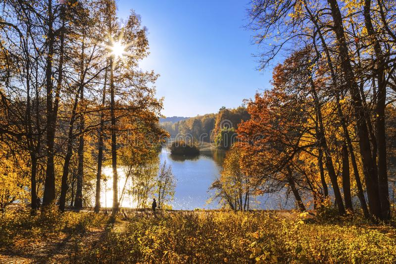 Autumn Park nella Museo-riserva di Tsaritsyno, Mosca immagini stock
