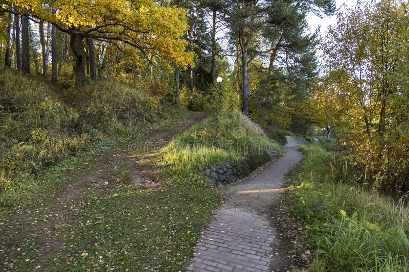 Autumn park. One path, paved with stone, leads straight, another, country road, rises up royalty free stock images