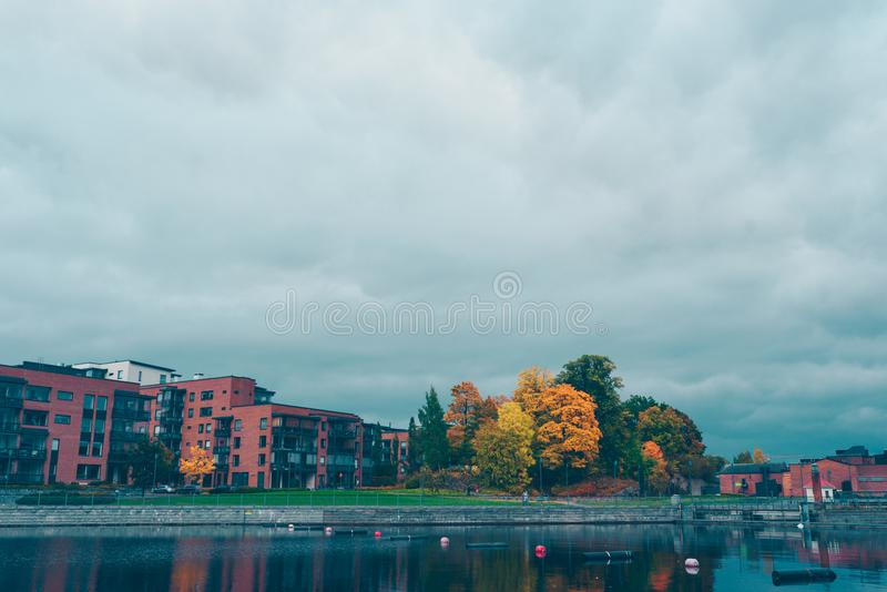 Autumn park in Tampere royalty free stock images