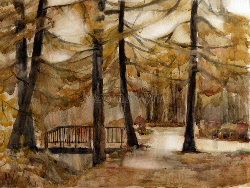 Download Autumn park. Watercolor. stock illustration. Image of grass - 6424834