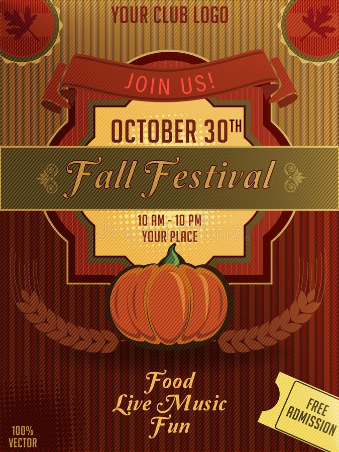 Autumn Party Flyer with a grunge backdrop of an abstract pattern background with lines and lettering. vector illustration