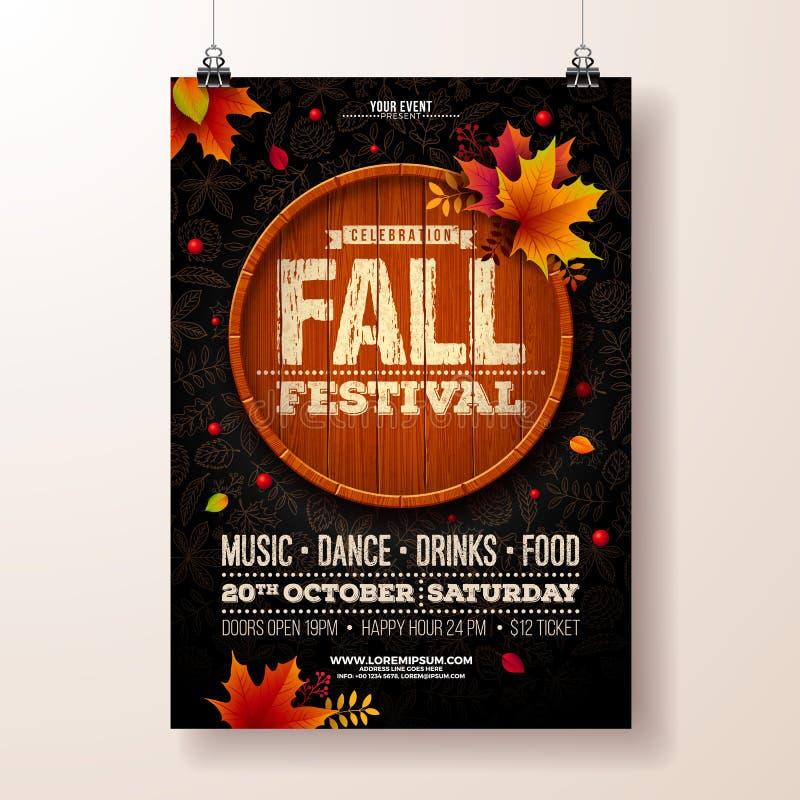 Autumn Party Flyer Illustration mit fallenden Blättern und Typografie entwerfen auf Weinleseholzfaß Vektor-herbstlicher Fall lizenzfreie abbildung