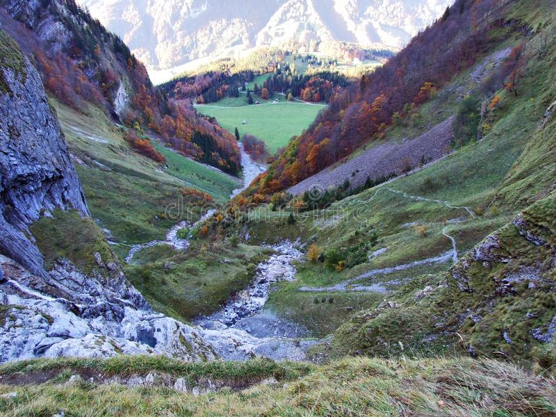Autumn pastures and farms in the valley of lake Klontalersee or in the Klontal valley. Canton of Glarus, Switzerland stock photos