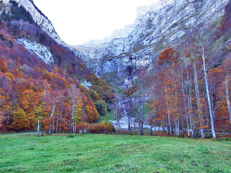 Autumn pastures and farms in the valley of lake Klontalersee or in the Klontal valley. Canton of Glarus, Switzerland stock images