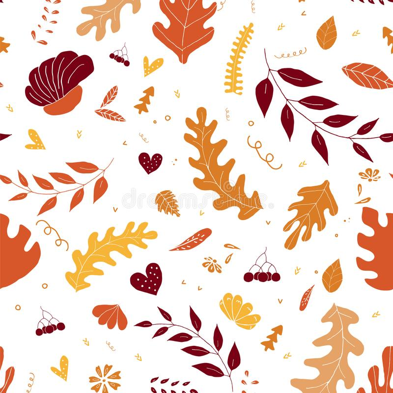 Autumn pattern background. Colorful leaves isolated on a white background. stock illustration