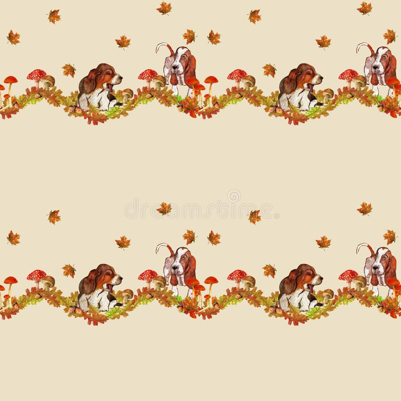 Autumn pattern with dogs and beautiful leaves stock illustration