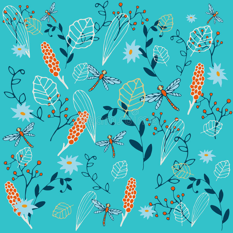 Autumn pattern. Elements: dragonfly, red mountain ash, flowers, and other plants. Vector illustration. royalty free stock images