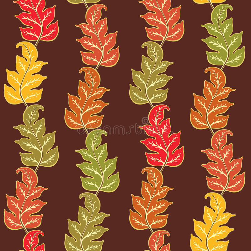 Autumn Pattern With Leaves. Seamless pattern with abstract colorful veiny leaves. Fall composition with hand drawn leaves. Endless texture for printing, fabrics stock illustration
