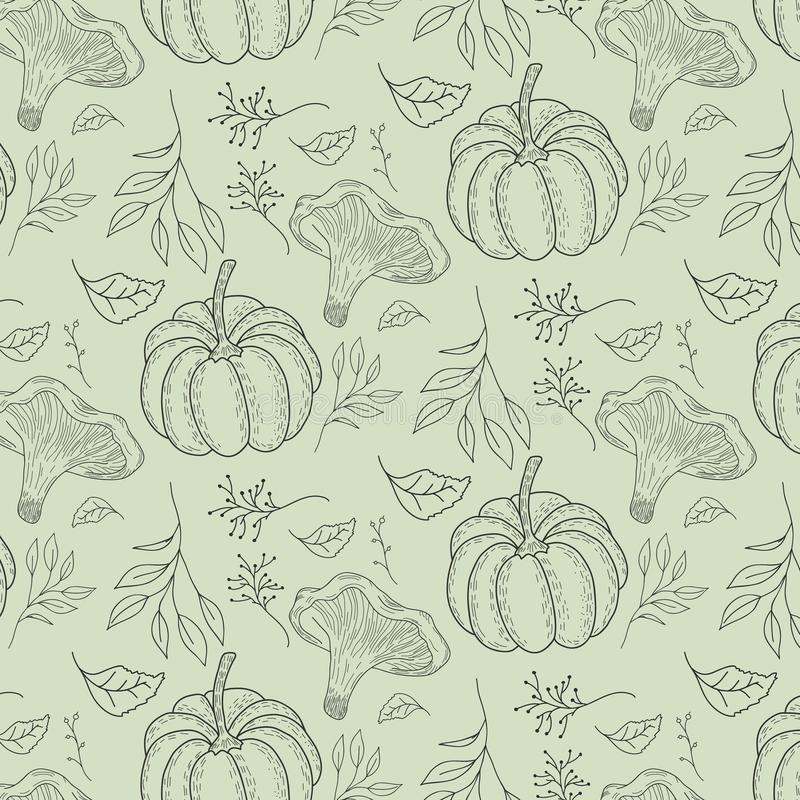 Autumn pattern with mushrooms chanterelles, pumpkins, leaves, berries. Green background. Vector forest ornament. vector illustration