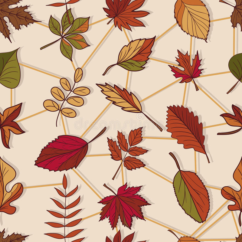 Autumn pattern. Pattern of autumn leaves. Red, yellow and green leaves of forest trees. Seamless texture. Use as a fill pattern stock illustration
