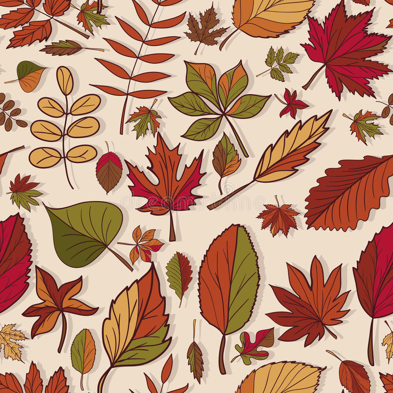 Free Autumn Pattern. Pattern Of Autumn Leaves. Red, Yellow And Green Leaves Of Forest Trees. Seamless Texture. Use As A Fill Pattern Royalty Free Stock Images - 44252129