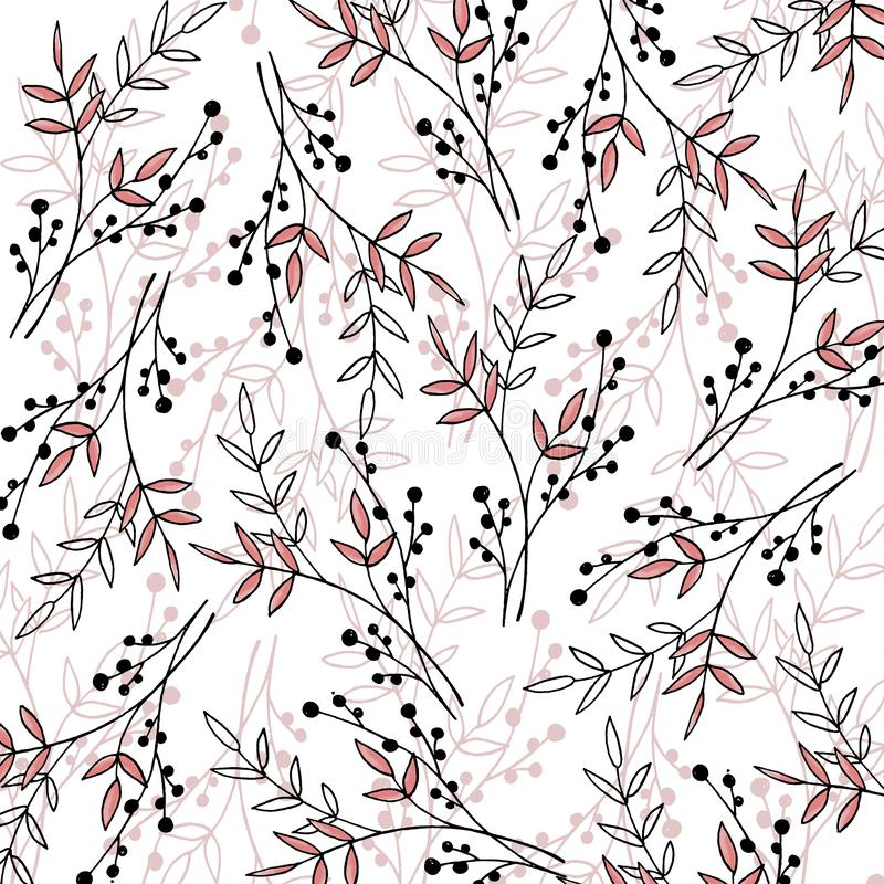 Autumn pattern with plants, leaves and seeds royalty free illustration
