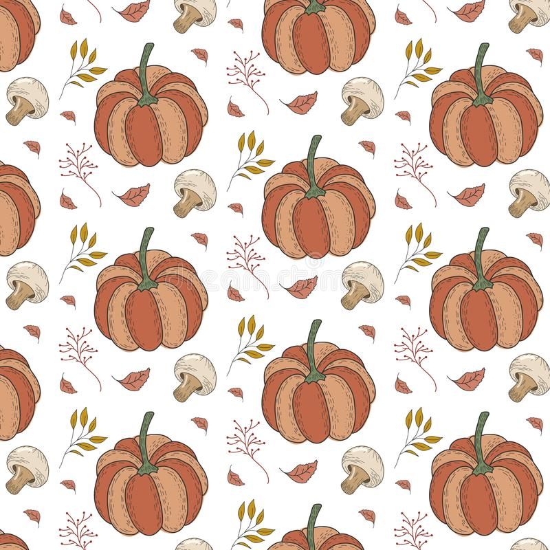 Autumn pattern with pumpkins, champignon mushrooms, leaves, berries. Vector forest ornament royalty free illustration