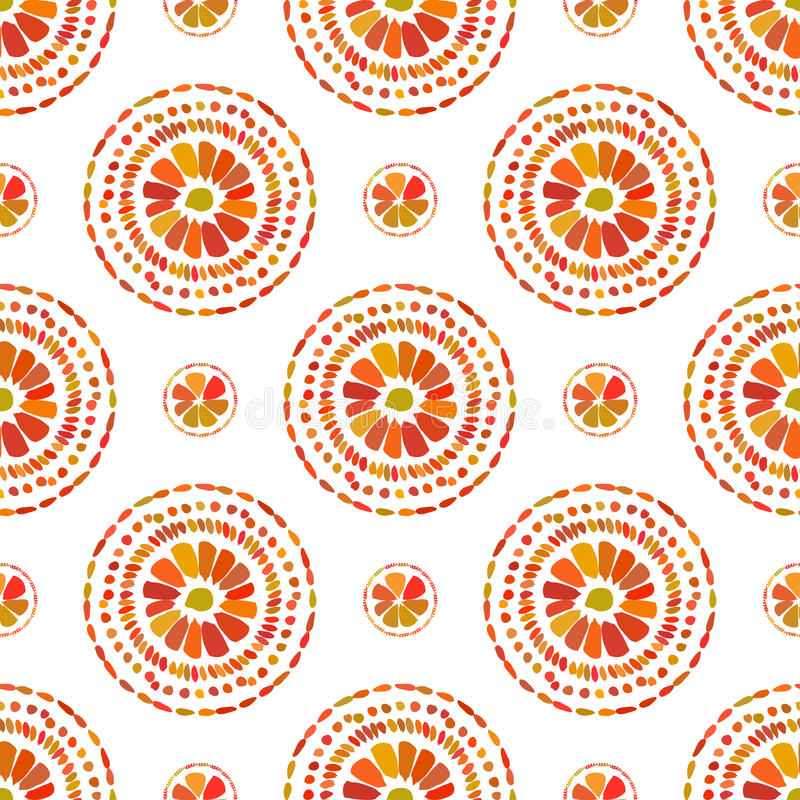 Autumn Pattern Rétro texture florale de cercles Vecteur sans couture sur le fond blanc illustration stock