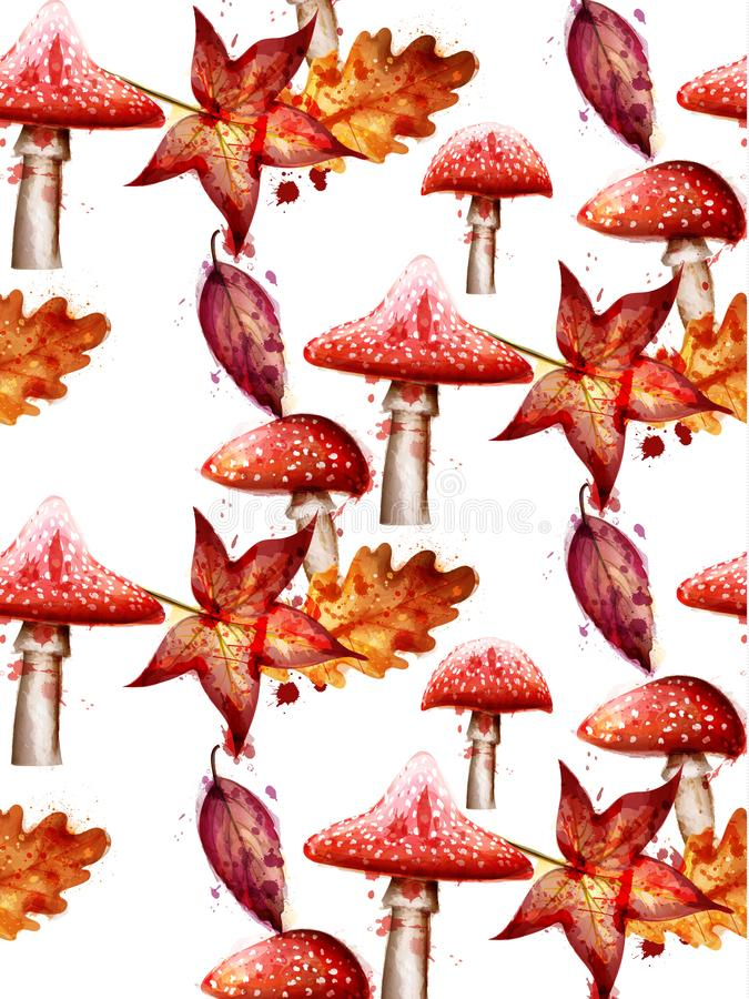 Autumn pattern with red Mushrooms watercolor Vector on white backgrounds vector illustration