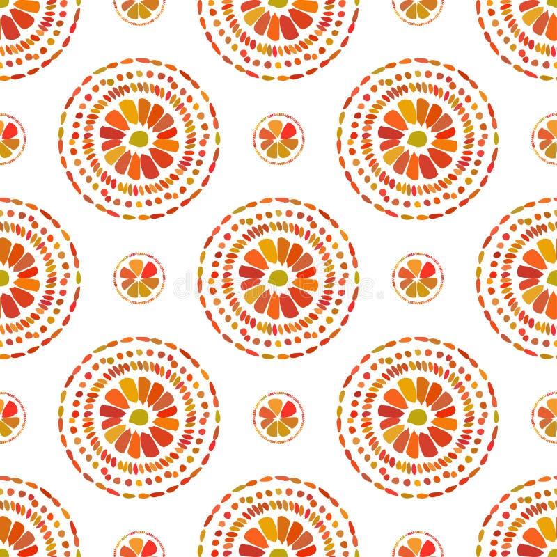 Autumn pattern. Retro floral circles texture. Vector seamless on white background. stock illustration