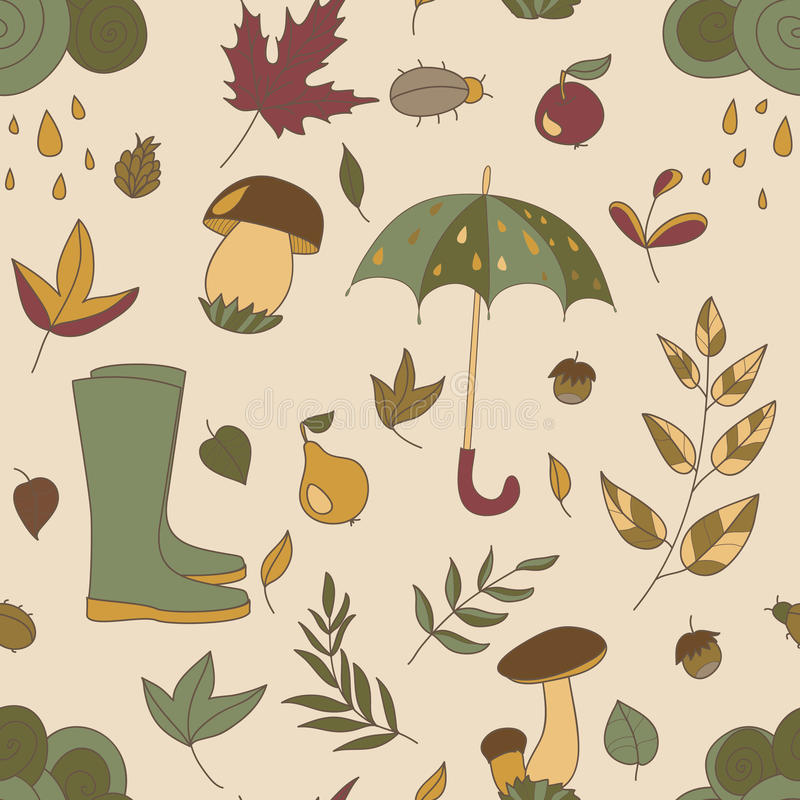 Autumn pattern. Seamless texture with autumn objects. vector illustration