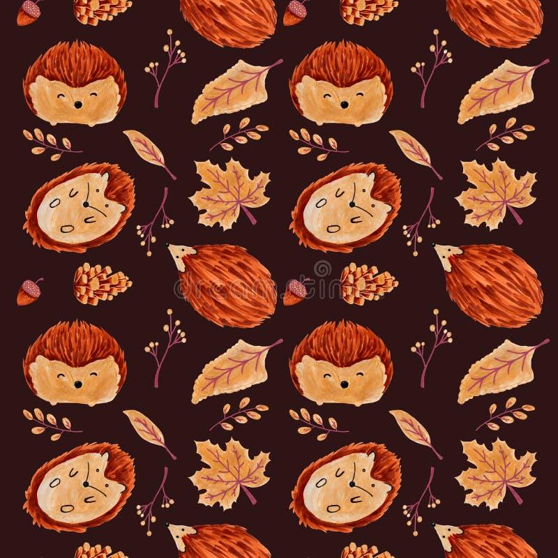 Autumn Pattern sem emenda com folhas e ouriço fotos de stock