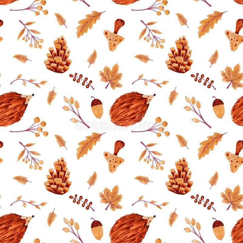 Autumn Pattern sem emenda com folhas e ouriço fotos de stock royalty free