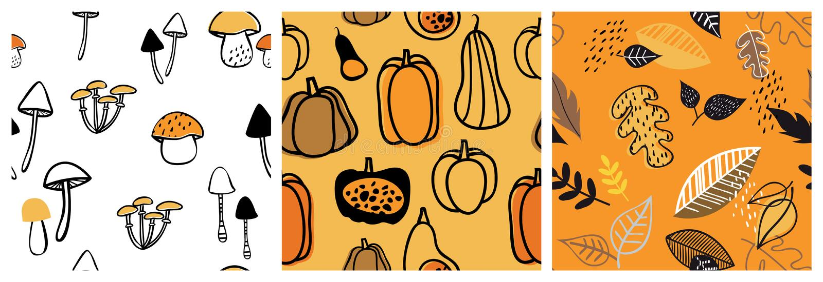 Autumn pattern set. Perfect for wallpaper, gift paper, pattern fills, web page background, autumn greeting cards. fall. Autumn patterns set. Perfect for
