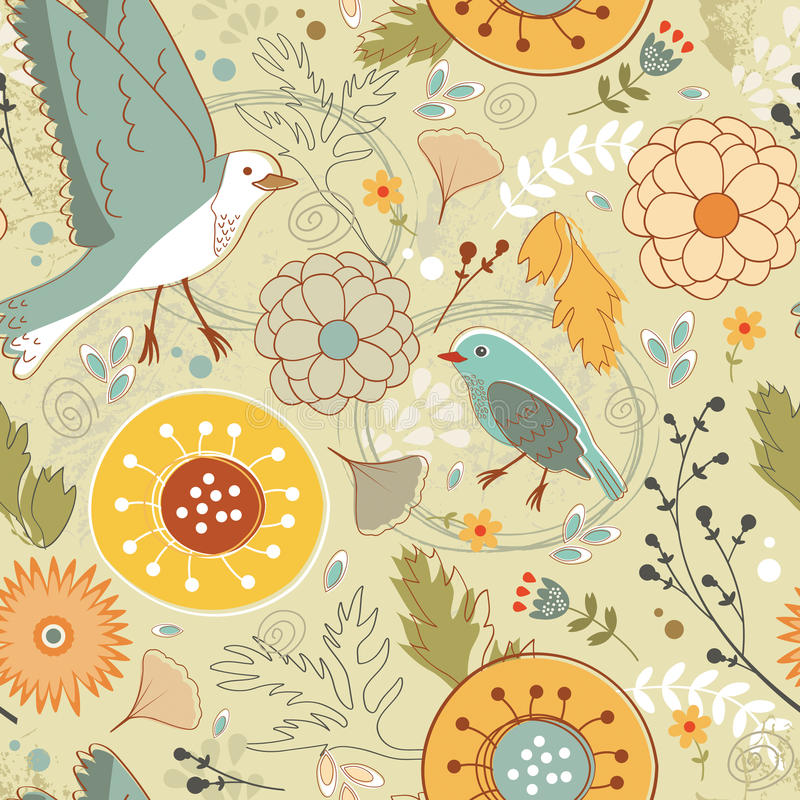 Free Autumn Pattern With Birds, Flowers And Leaves Stock Photo - 44460660