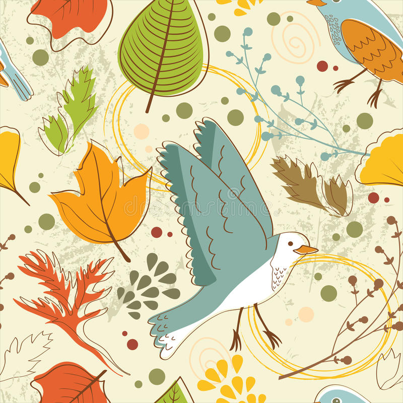 Free Autumn Pattern With Leaves And Birds Stock Images - 44459894