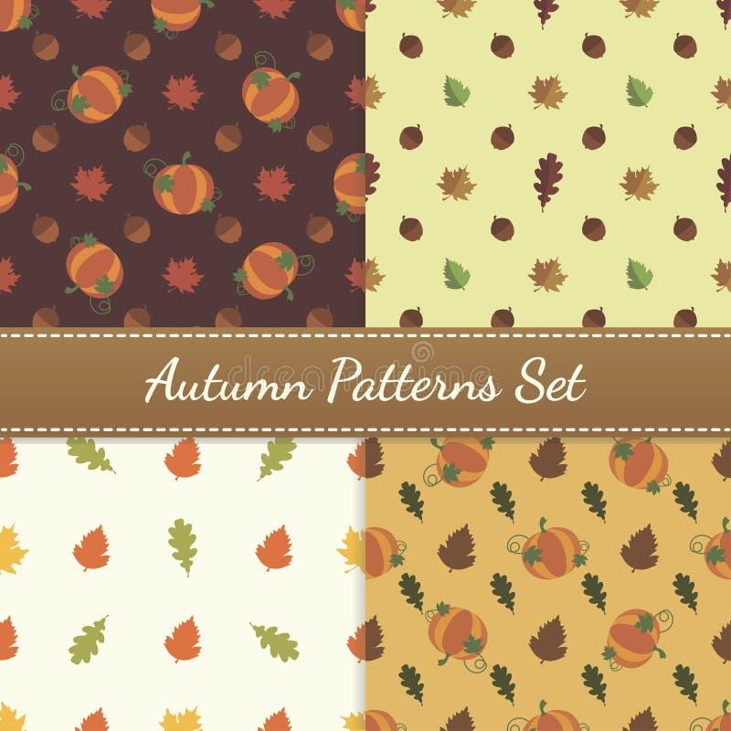 Autumn Patterns Vector Set imágenes de archivo libres de regalías