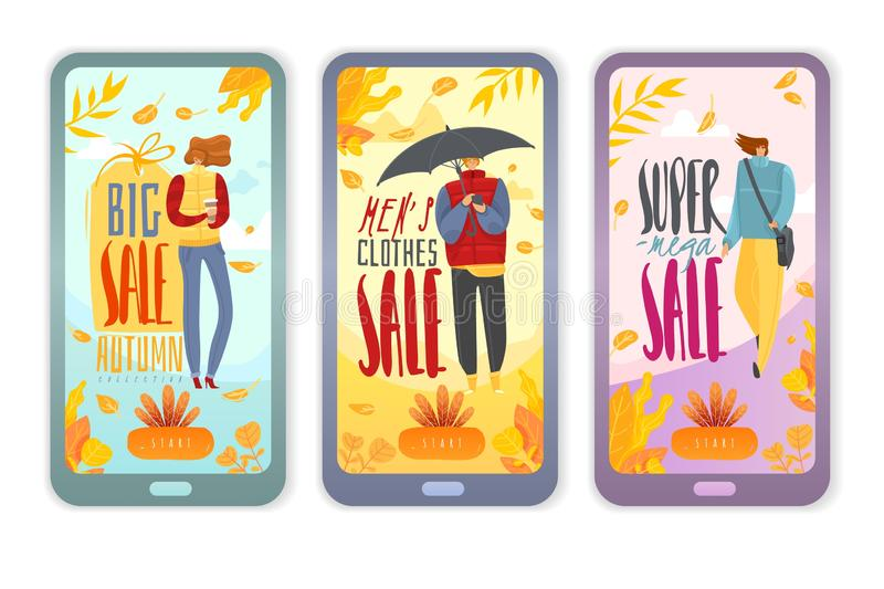 Autumn people vertical banners. Collection of autumn sale vertical banners with people dressed in autumn isolated objects royalty free illustration