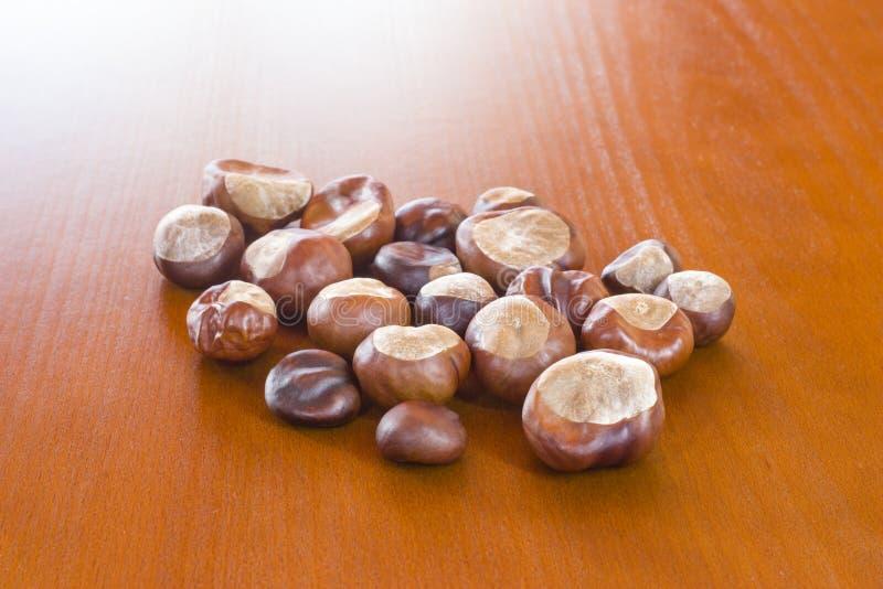 Autumn photo showing fresh chestnuts stock photo