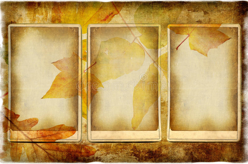 Autumn photoalbum. Autumn background in retro style with old paper frame stock image