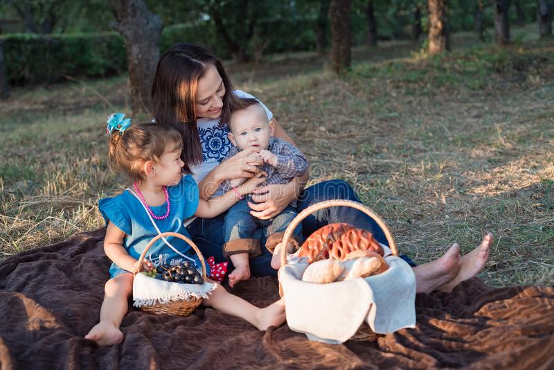 Autumn picnic. Adorable girl, brunette with young children royalty free stock images