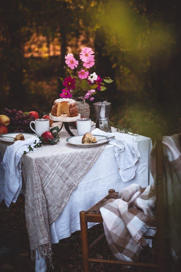 Autumn Picnic met Cake, Thee, Vruchten in Tuin stock afbeeldingen