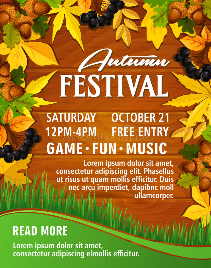 Autumn picnic music party festival vector poster. Autumn festival invitation poster or web banner template for music party or seasonal park picnic. Vector design royalty free illustration