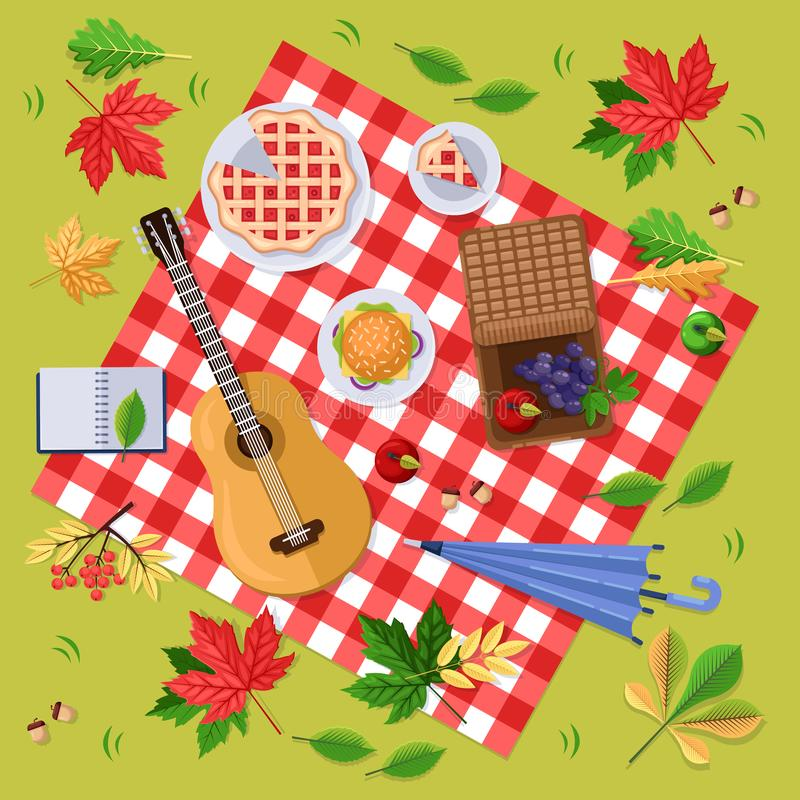 Autumn picnic in park or forest. Fall landscape, leaves and food on red plaid, top view illustration. Vector background. Autumn picnic in park or forest. Fall royalty free illustration