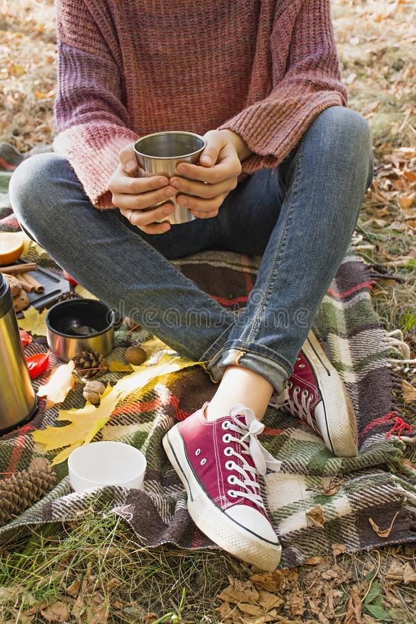 Autumn picnic in the park. The girl holds a cup of tea in her hands. Basket with flowers on a blanket in yellow autumn leaves. Autumn picnic in the park, warm stock photo