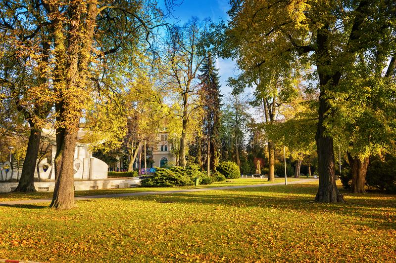 Autumn in Piestany Slovakia – park, historical building, col. Orful trees, blue sky royalty free stock image