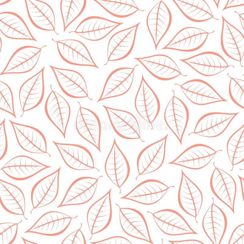 Autumn pink natural background from contours of pink leaves. Seamless decorative eco backdrop. Environmental pattern with floral l stock illustration