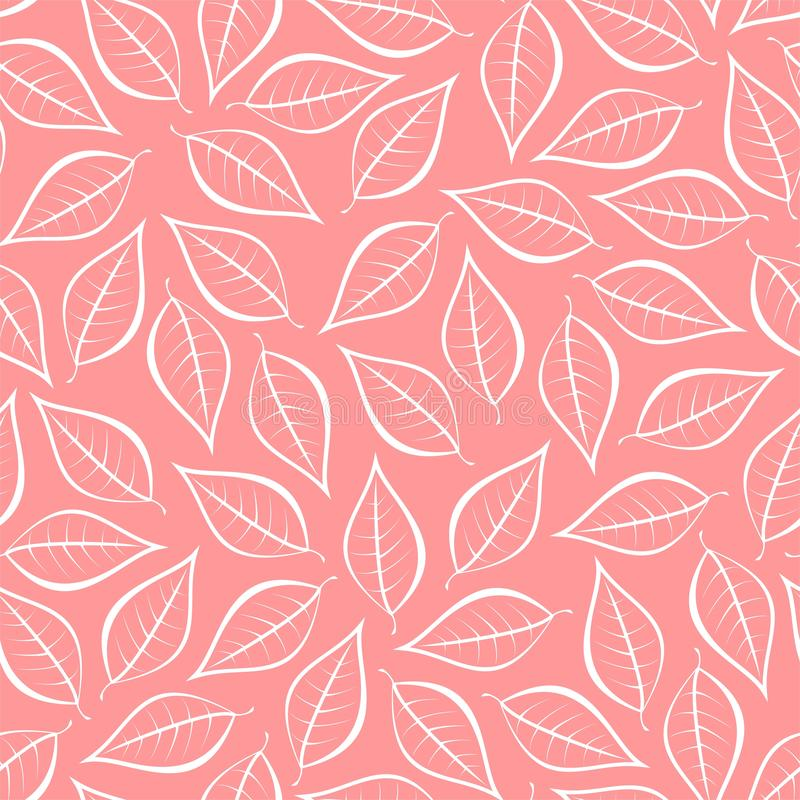 Autumn pink natural background from contours of white leaves. Seamless decorative eco backdrop. Environmental pattern with floral vector illustration