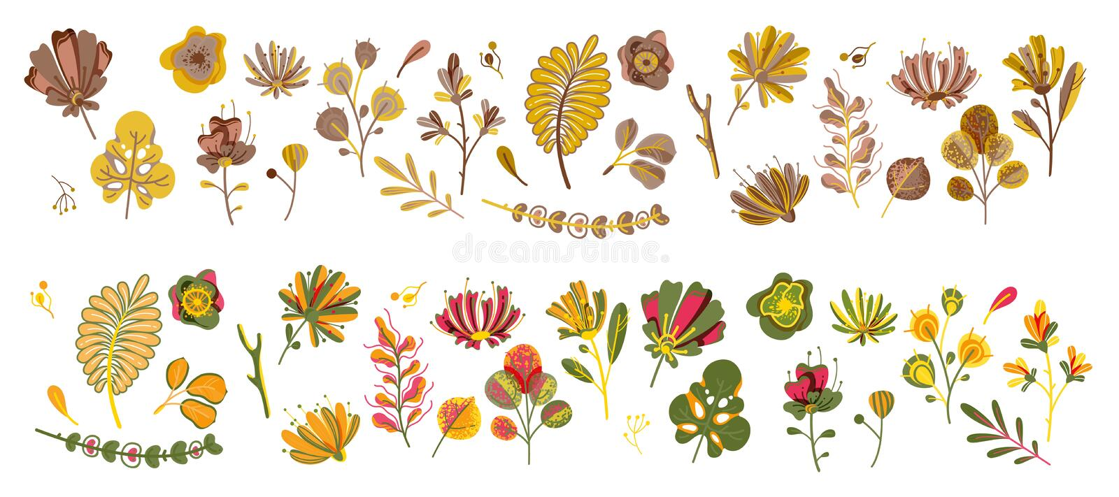 Autumn plant set. Forest cute abstract leaves and cereal in garden ecological flat flowers botanical vector concept stock illustration
