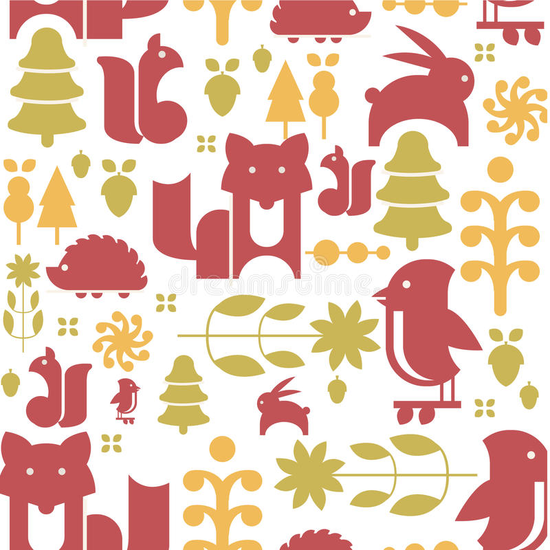 Autumn Plants and Animals in Flat Style Seamless vector illustration